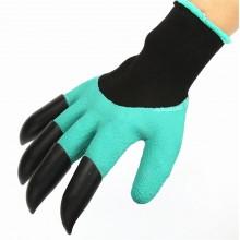 Садовые перчатки с когтями с пластиковыми наконечниками Garden Gloves Бирюзовые
